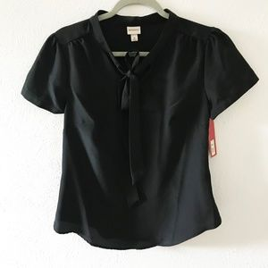 Merona Black Bow Front Business Casual Blouse